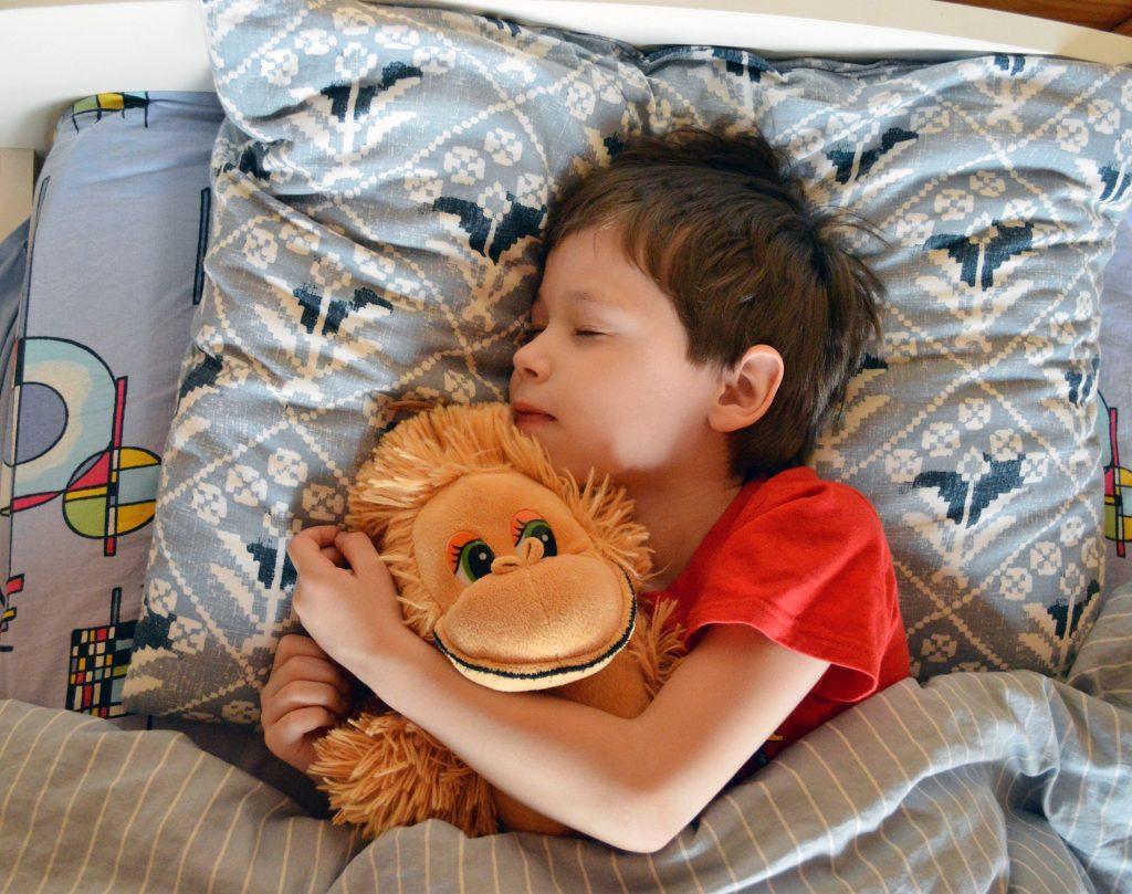 enfant ayant retrouvé le sommeil après une terreur nocturne, serrant son doudou